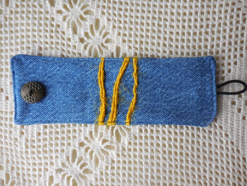 for 6 to 612 inch wrist upcycled earth friendly vintage jean jewelry Fabric Bracelet in denim with yellow wool yarn recycled jeans cuff