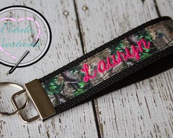 Personalized Camo Key Fob with cursive font - Camo Keychain - Camo Wristlet  - Monogrammed Keychain - Personalized keychain efc7d5ebc