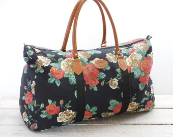 5cc322d984 Vintage Gitano Duffel Bag ~ Large Overnight Gym Bag ~ Womens Luggage Travel  Tote ~ 80 s Floral Roses