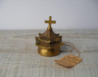 Vintage India Brass Water Carrier Bheestee Bell ~ 1950 Oriental Bells of Sarna ~ 50's Mid Century Asian Metal Cross Decor Paperweight