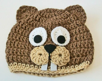 Adorable Brown and Tan Beaver Hand Crocheted Baby and Childrens Hat Great  Photo Prop 5 Sizes Available 1ad717bd456