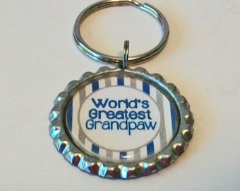 Blue and Gray Stripe World's Greatest Grandpaw Grandfather Metal Flattened Bottlecap Keychain Great Gift