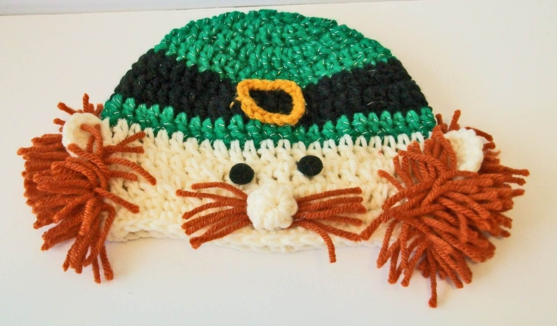 Adorable Irish Leprechaun St Patricks Days Hand Crocheted Baby and Childrens Hat Great Photo Prop 5 Sizes Available
