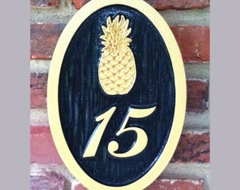 Pineapple Street Address sign / House number Custom Carved Sign or other stock image