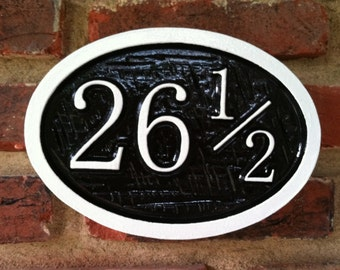 Customized Street Address sign with 1/2 -  House number with half number - Custom Carved Signs
