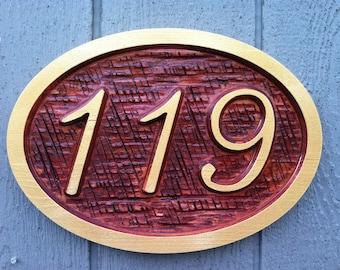 Custom Carved Street Address sign / House number - Custom Carved Wood signage