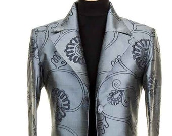 6f1cfbafb7c Women's Full Length, Embroidered Silk, Maxi Coat, Mercury, Grey Embroidered  Raw Silk Coat