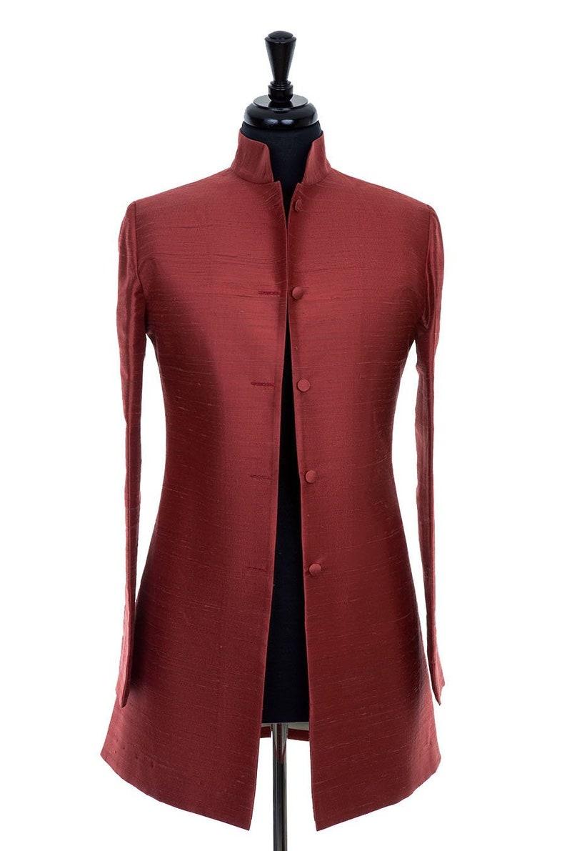 780cb434974 Womens Burnt Red Raw Silk Nehru Collar Jacket Longline Smart | Etsy