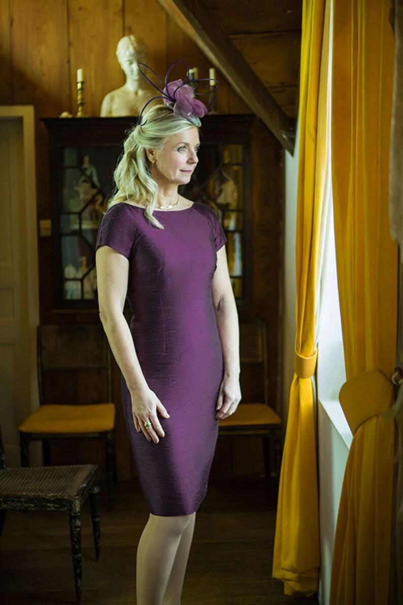 ef41678ecc3 Womens Aubergine Purple Raw Silk Fitted Shift Dress Boat