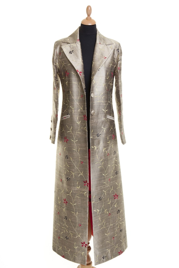 American Express Card >> Womens Gold Embroidered Raw Silk Full Length Evening Coat ...