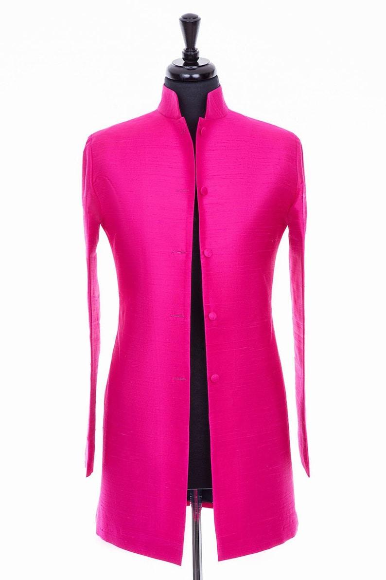 332f208f382 Ladies Hot Pink Raw Silk Nehru Collar Longline Jacket Mother | Etsy