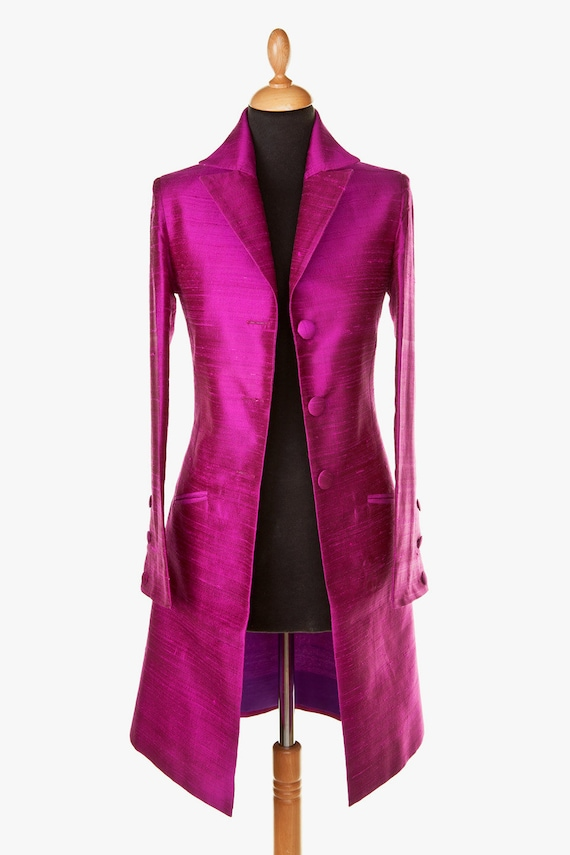 novel style classic chic reasonable price Silk Grace Coat in Wild Orchid, Ladies Smart Wedding Coat, Fitted Frock  Coat, Wedding Guest