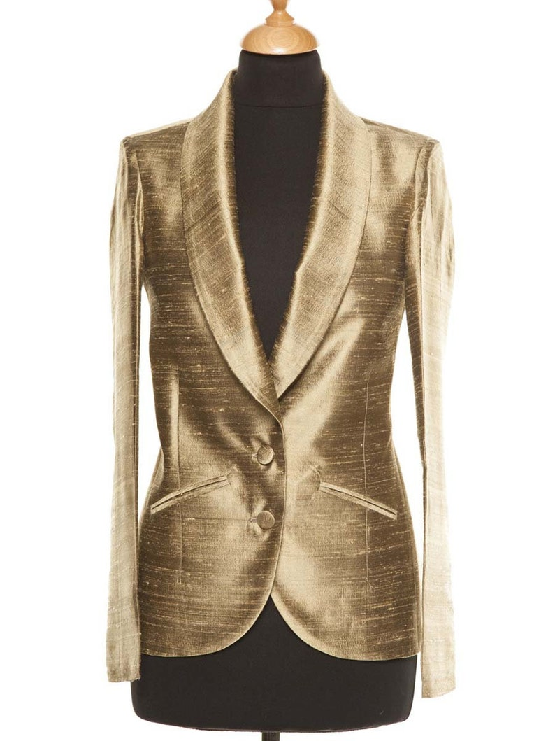 Ladies Dark Gold Tuxedo Jacket Womens Gold Raw Silk Blazer  5596ae59f4