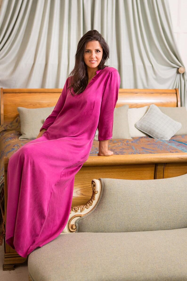 d955e2ceaa910 Coco Kaftan in Deep Raspberry Silk maxi dress gown luxury