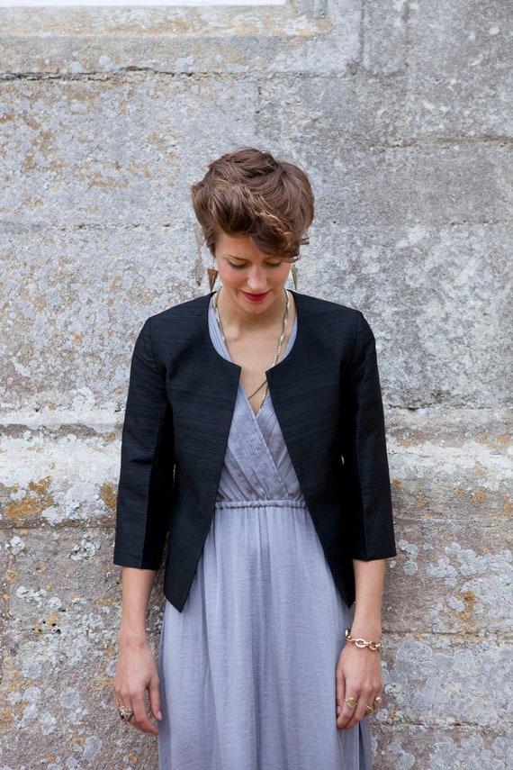 Smart Ladies Black Raw Silk Jacket Part Outfit Office Wear Etsy