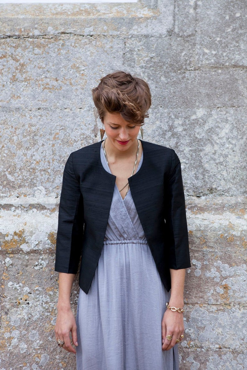 1ba5bbb4ad1 Smart Ladies Black Raw Silk Jacket Part Outfit Office Wear