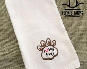 Pug Hand Towel Etsy