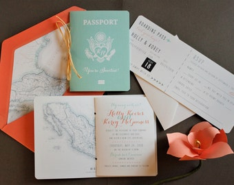 Passport & Boarding Pass Invitation - Coral and Teal, Starfish motif