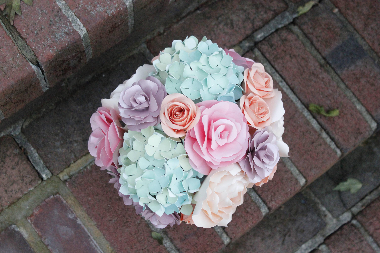 Paper Floral Arrangement Centerpiece Mixes Roses Peonies Etsy