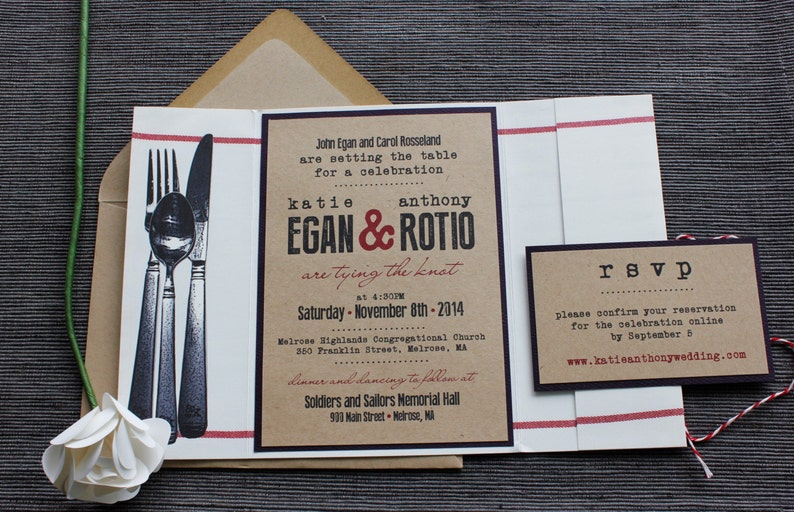 Food Themed Wedding Invitation Setting The Table Dinner Etsy