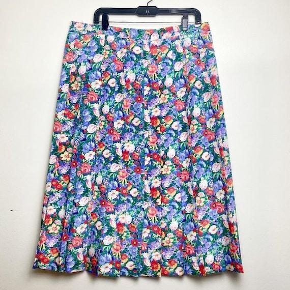Vintage Cottagecore Floral Pleated Skirt - image 1