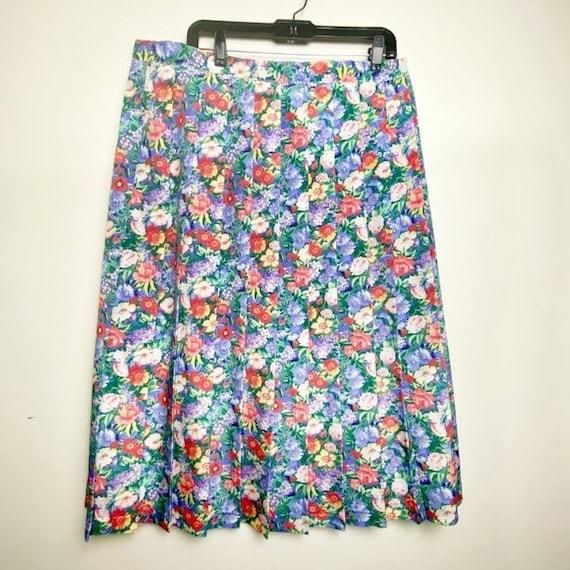 Vintage Cottagecore Floral Pleated Skirt - image 3