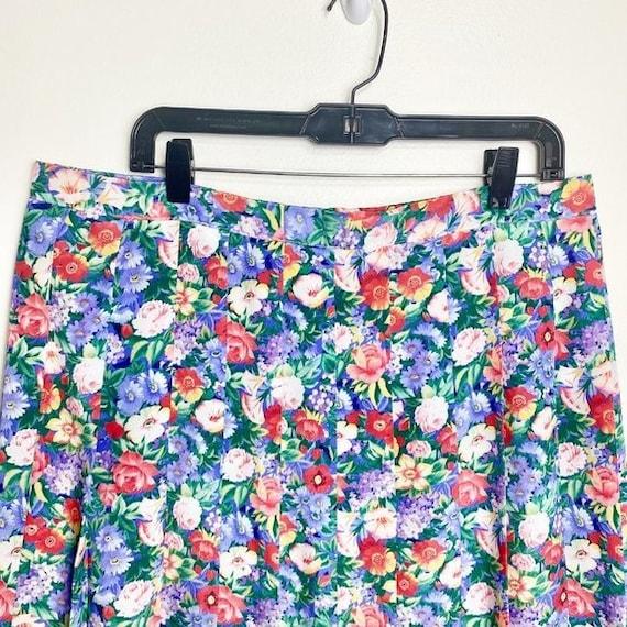 Vintage Cottagecore Floral Pleated Skirt - image 4