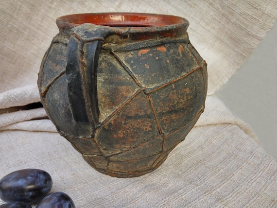 Antique Vase Baked Wire Ceramic Crock Old Clay Vase Etsy