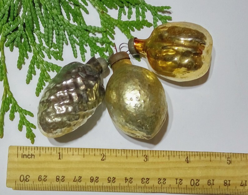 1950s Christmas decoration Golden nut Hazelnut Cone Antique glass bauble Shabby chic Christmas ornament Xmas tree decor Soviet Xmas
