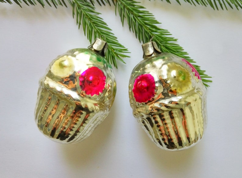 Antique Christmas ornaments set Two glass flowers baskets Christmas tree decorations Shabby Xmas baubles decor Gifts for kids