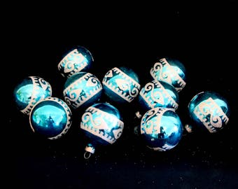 Vintage Christmas ornaments blue glittery 50s 60s set of 10