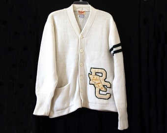 208c7974c95 Vintage letterman sweater new jersey RC white high school 60s 64 65