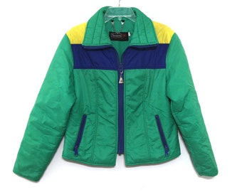 Vintage 70s 80s ski jacket coat womens green yellow blue striped 916a9f1c2