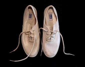 fbf5c7aa7336 Vintage 80s keds shoes canvas silver glittery khaki natural womens 7