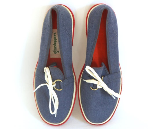 Vintage 60s keds Canvas shoes slip ons grasshopper
