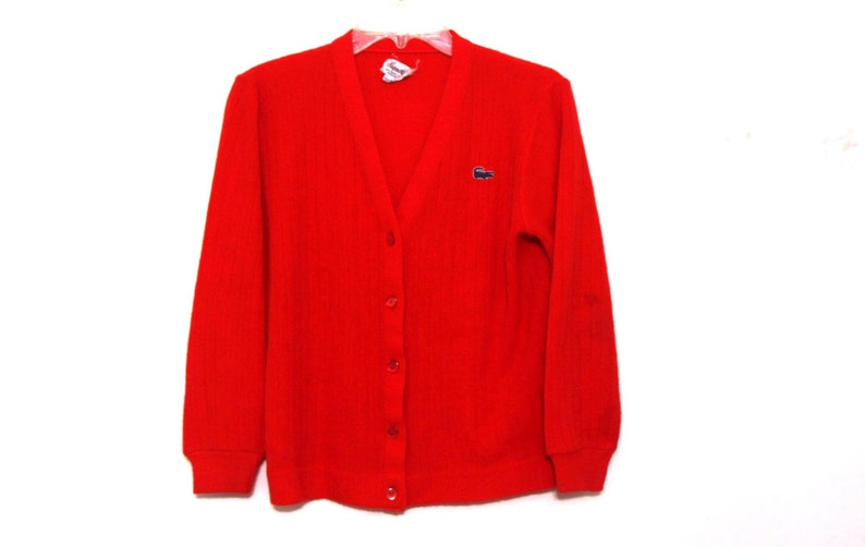 500e8eca78cac Vintage Lacoste cardigan womens red sweater 70s 80s Haymaker