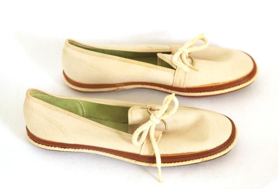 Vintage 60s keds Canvas shoes natural slip ons gra