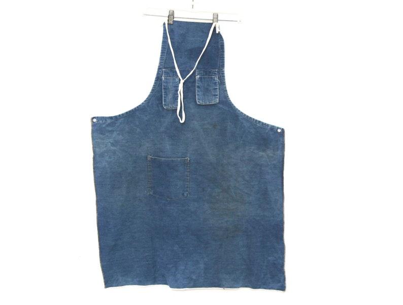 tablier en jean vintage bleu