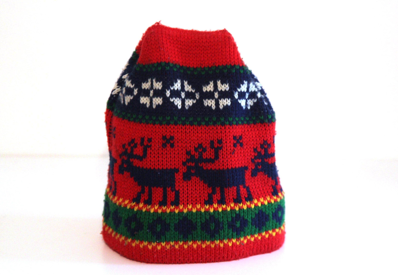 Vintage 80s ski hat red blue reindeer pattern  4afca7dbd84