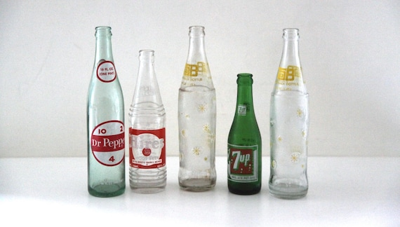 Vintage Glass Soda Bottles Dr Pepper 7up Tab Hires Rainbow Etsy
