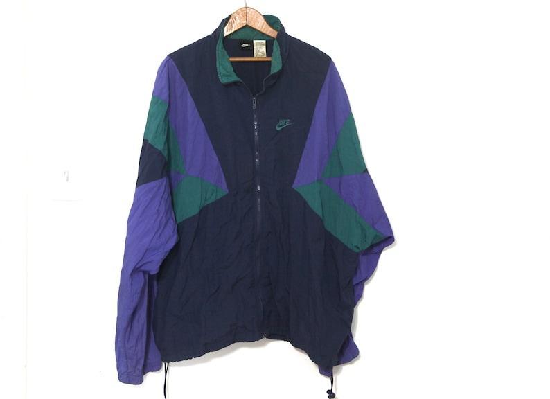 f5514ec18 Vintage Nike windbreaker jacket mens blue green 80s 90s | Etsy