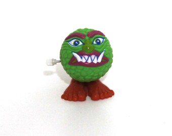 Vintage 80s Madballs Monster ball wind up toy green soma 1986 works