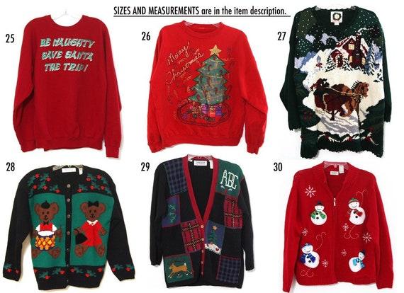 Vintage Christmas Sweaters.Vintage Ugly Christmas Sweater You Pick 80s 90s Xmas Sweatshirt Tshirt All Sizes