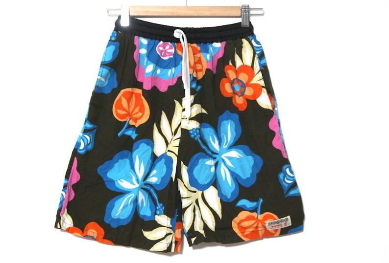 5f5d934925383 Vintage shorts jams Hawaii Hawaiian floral orange blue 80s 90s   Etsy