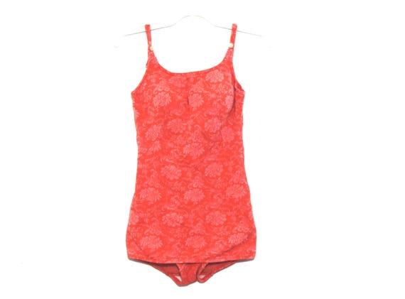 Vintage 40s bathing suit peach pink floral swimwea