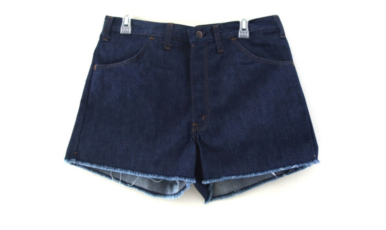 082a35c7662 Vintage 70s jean shorts cut offs thumbs up sears 80s
