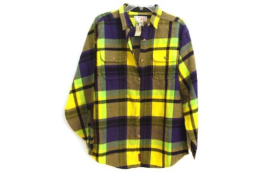 Vintage 90s flannel shirt yellow purple plaid new