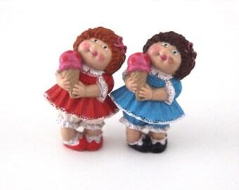 Vintage 80s CABBAGE PATCH KIDS pvc lot of 2 figures dolls 1984 toys twins