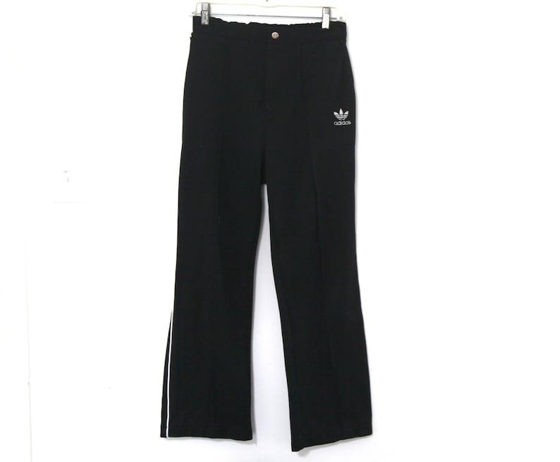 Vintage 80er Adidas Hosen Fußball Schiedsrichter Nadelstreifen schwarz Herren
