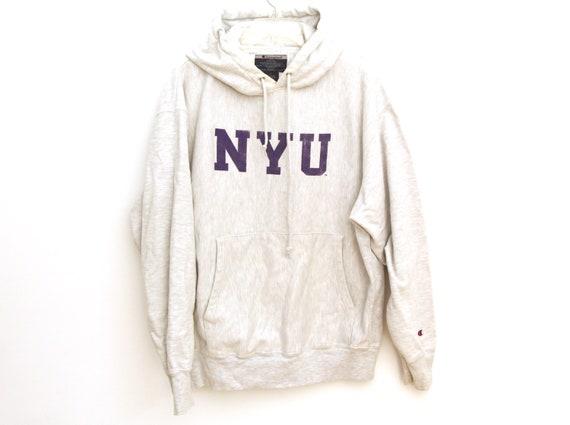 Vintage NYU hoodie heather gray champion reverse w